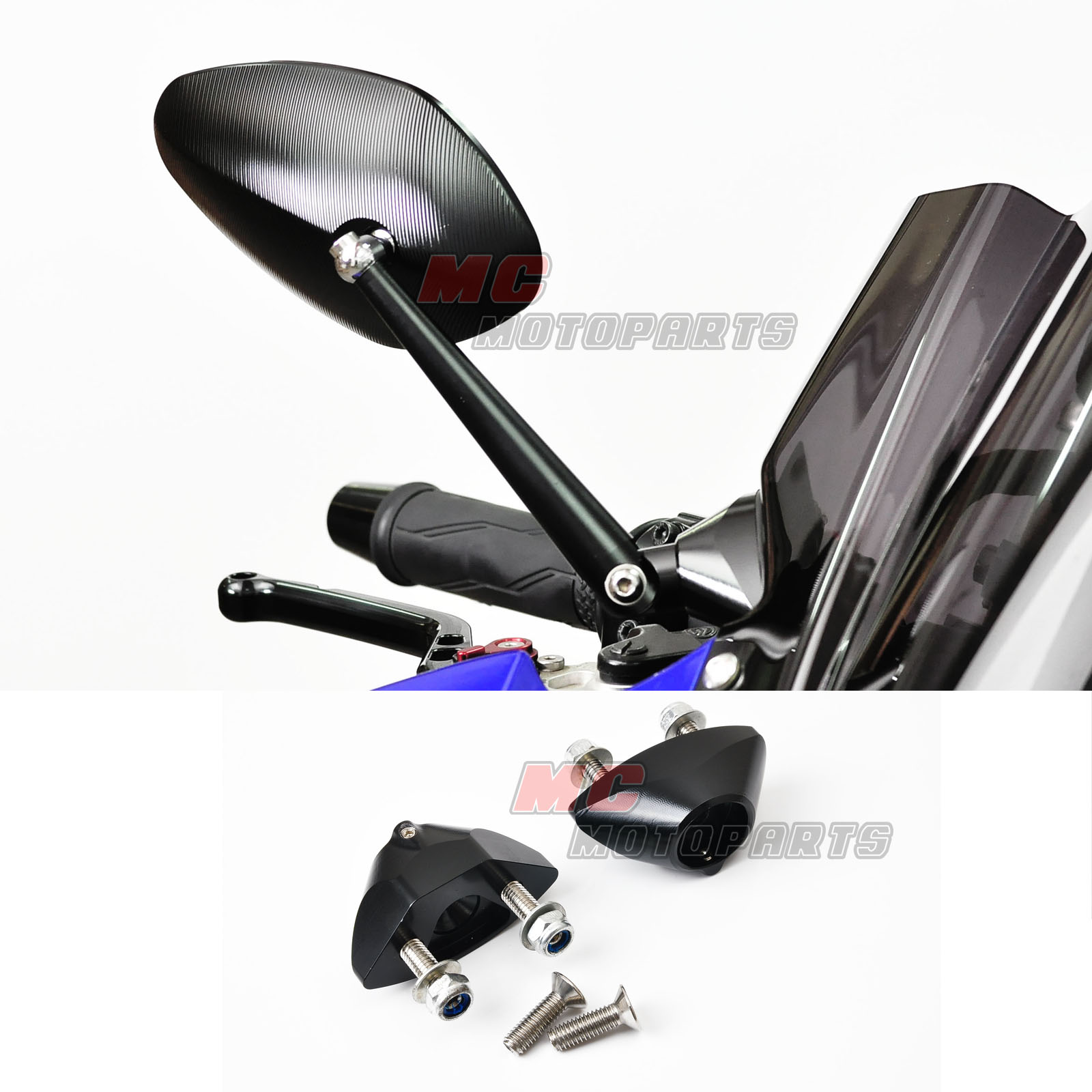 Yamaha yzf r6 2008 2012 cnc billet limit sport black for Yamaha r6 aftermarket mirrors