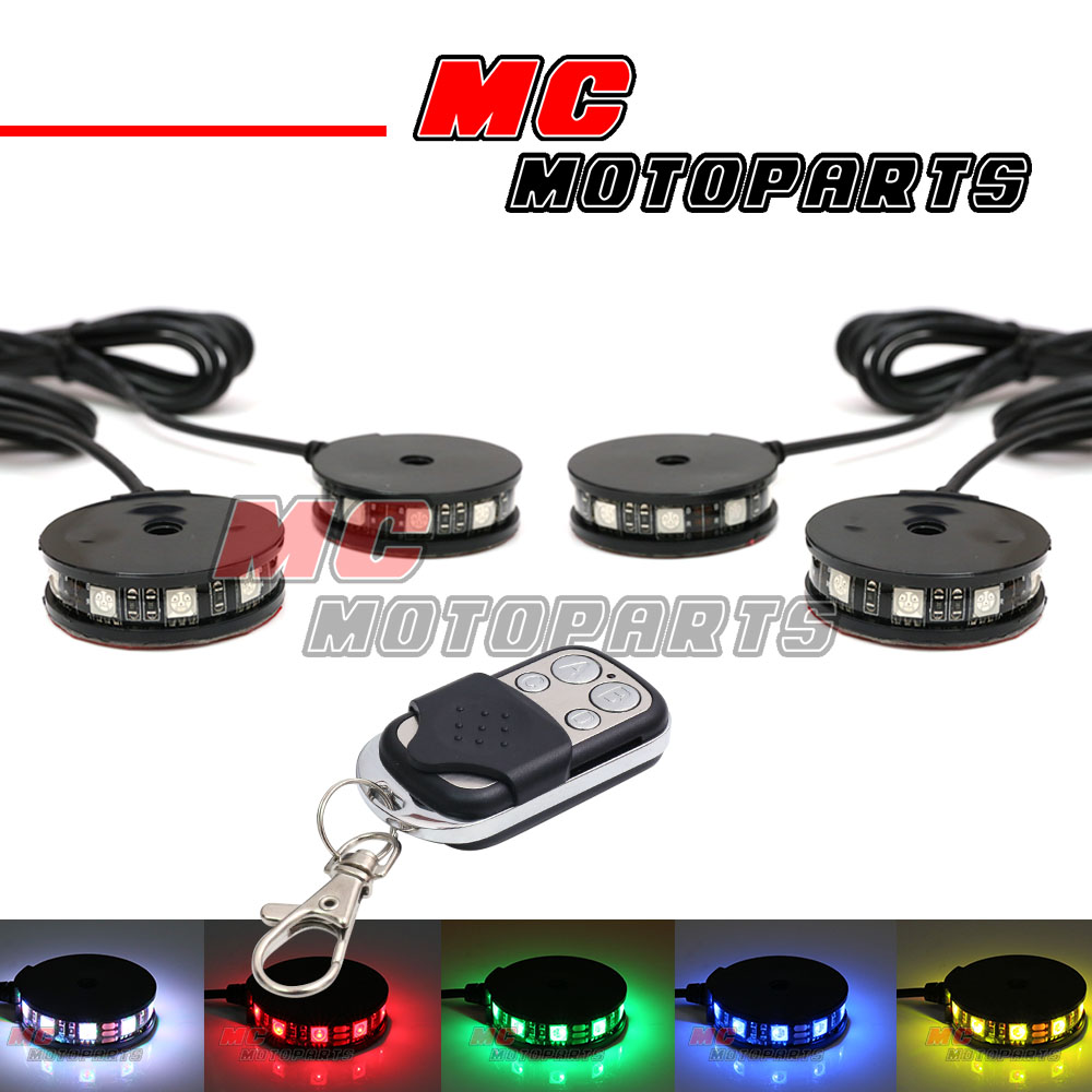 RGB Wheel Pod LED Light x4 w/Remote Kit For Yamaha FJR1300 ...