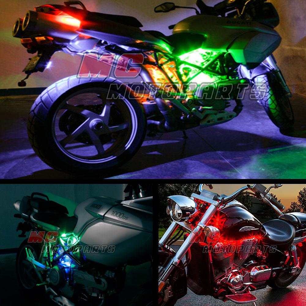 Easy Mount Waterproof Rgb 15 Colors Led Lighting Strip X8 For 2005 Hyosung Gt 650 Wiring Diagram Motorcycle Ebay