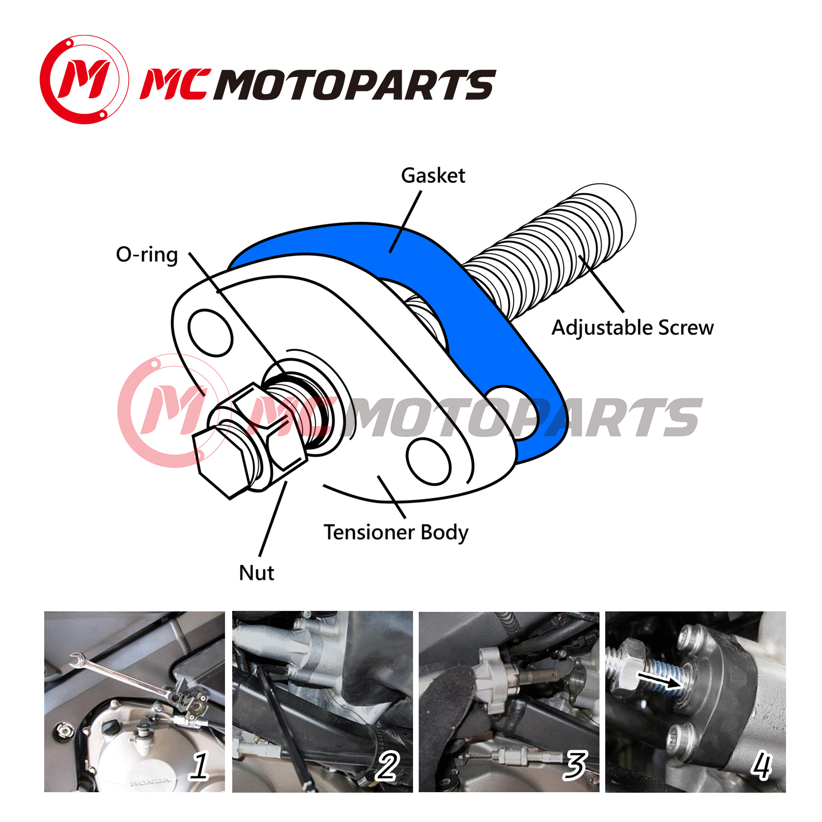 MC MOTOPARTS CNC HP Manual Cam Chain Tensioner For ATV Yamaha YFM 700 660 600 550 Grizzly Red YFM 700 660 Raptor