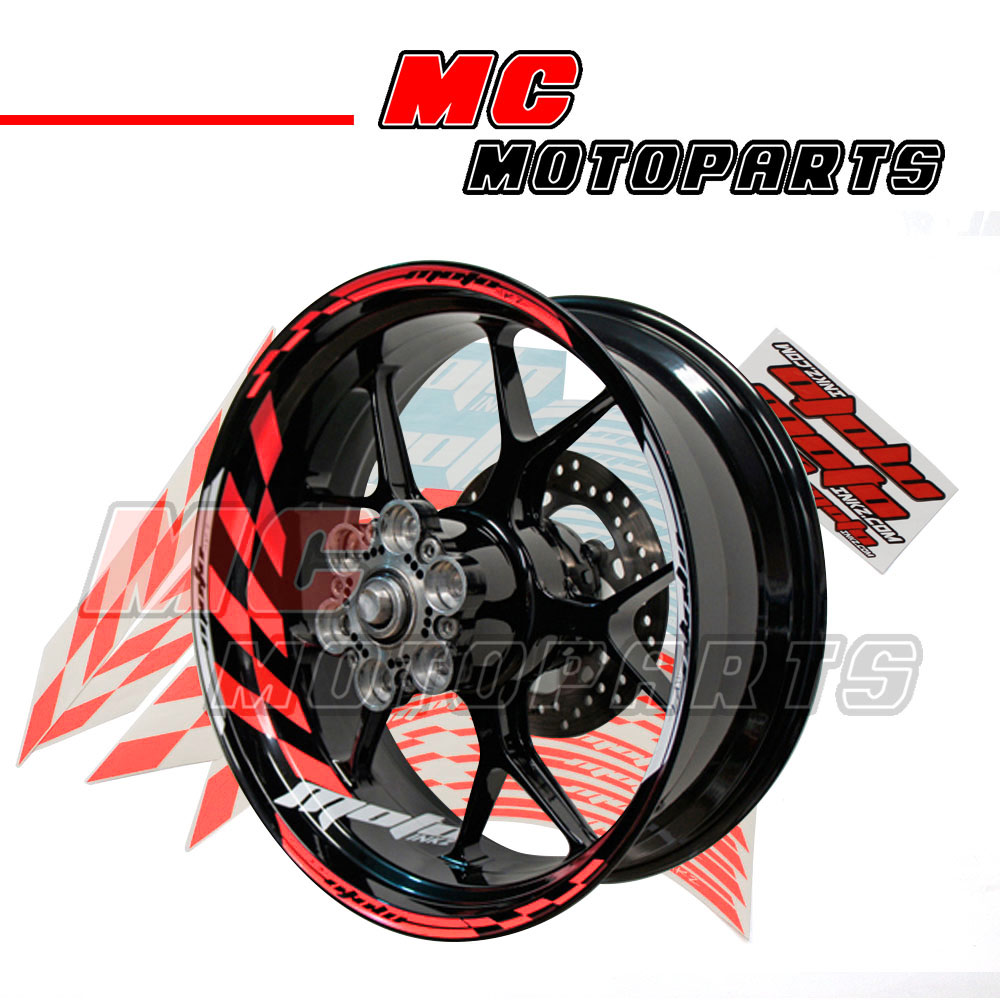 racing rouge fluorescent filet de jante sticker decal gp 1 pr roue 17 moto ebay. Black Bedroom Furniture Sets. Home Design Ideas